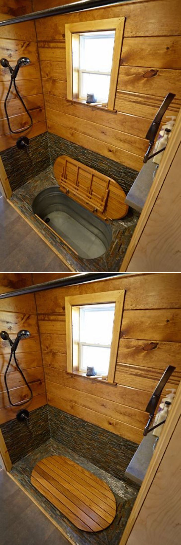 The shower features a hidden bathtub under the floor. Simply pull up this wooden cover … and start soaking your worries away.