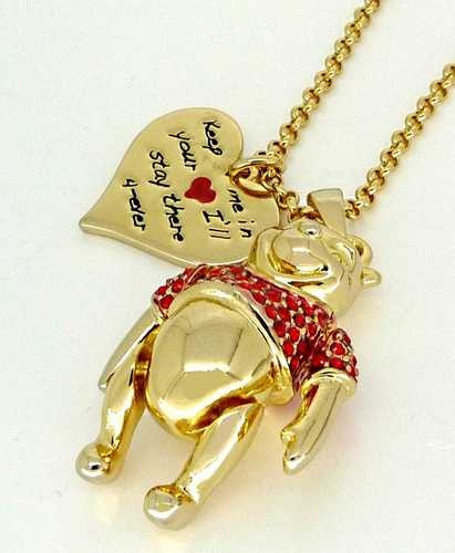 Disney Couture Gold Winnie the Pooh Bear Necklace