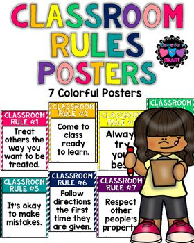 A set of 7 colorful classroom rules posters! These posters are 'positive' posters. None of these posters say DO NOT... These rules will help create a positive classroom environment!