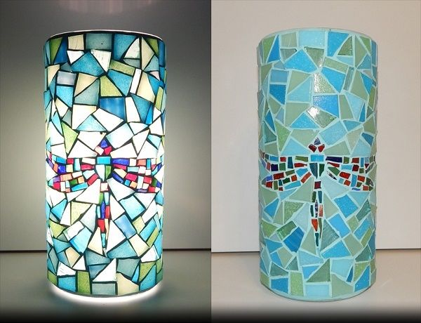 SOUL MOSAICS LAMP;  made of: glass mosaic; width: 11cm, height: 22cm;  price: 61 EUR / 49 GBP / 69 USD;   © Gabor Abraham mosaic art