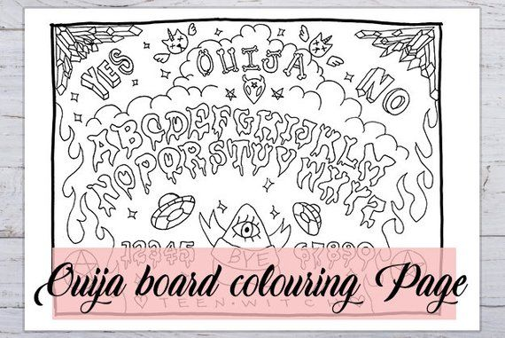 Ouija Board Colouring Page Printable In 3 Sizes Funny Etsy In 2020 Coloring Pages Printable Coloring Pages Etsy Humor