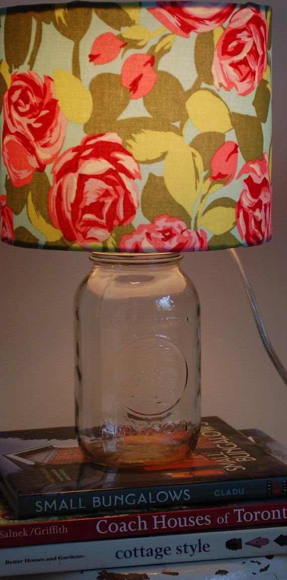 Mason Jar Lamp with Floral Pink and Turquoise by CottageShades, $40.00