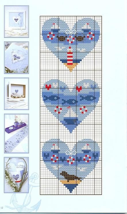 Nautical hearts. (9 total) cross stitch - free chart - free pattern