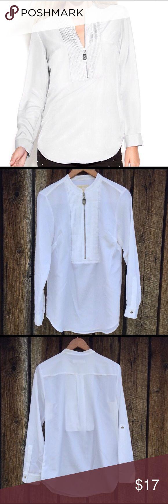 Michael Kors zip up mandarin collar shirt Look like a saint in this Michael Kors Tux shirt with zipper and roll tab sleeves MICHAEL Michael Kors Tops Blouses