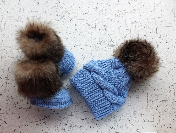 Baby Boy hat and booties set - Hand knitted - Hand knit hat - Fur booties - Cable Knit Hat - Crochet Booties - Hat and Boots - Baby boy gift by HandmadebyInese on Etsy