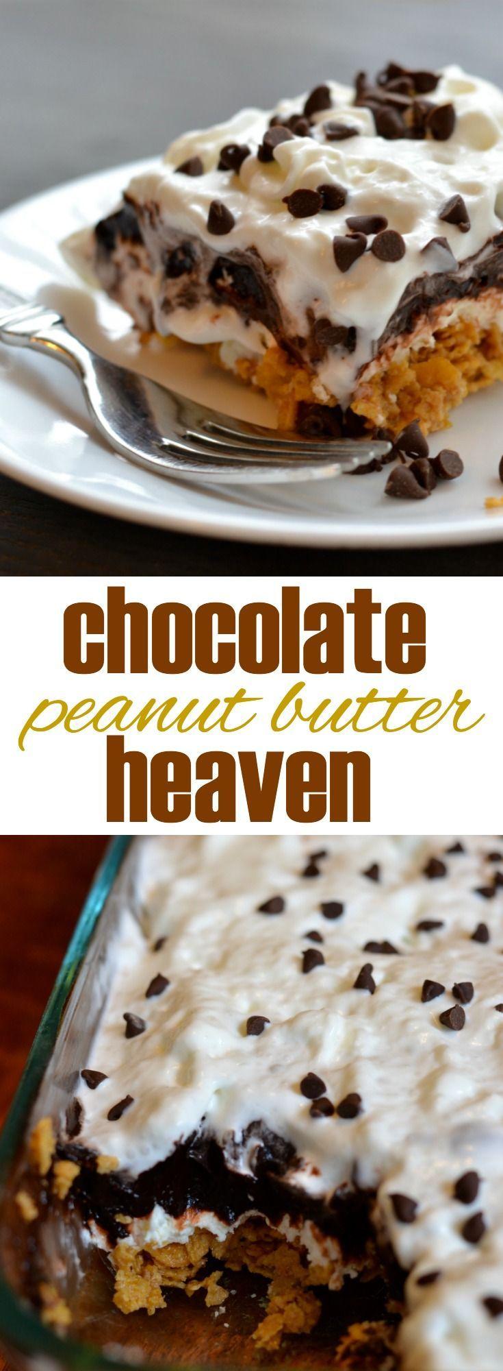 Chocolate Peanut Butter Heaven Easy No Bake Dessert Mini Chocolate Chipschocolate Puddingchocolate