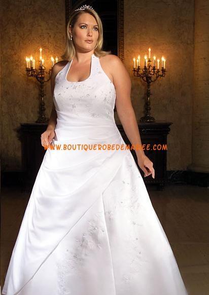Robe de mariée grande taille avec traîne