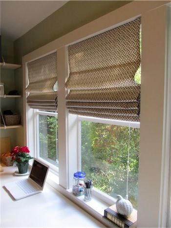 There are lots of tutorials for the roman shades-mini blinds cheat, but I like this the best. They are lined. There's a bit of sewing. Finished product looks polished.