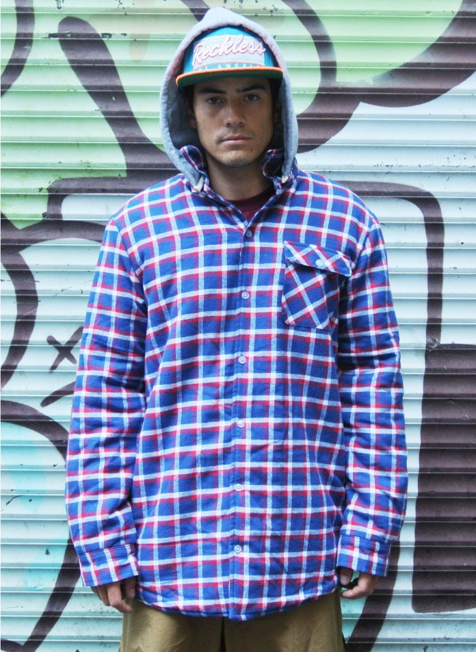 Image of OOTZ 052 - OOTZ Sherpa Lined Tall Flannel - Royal Check