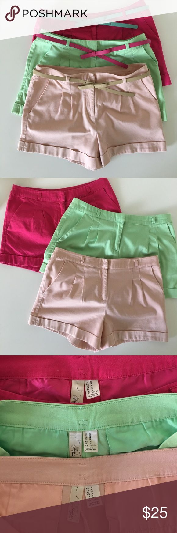 Bundle Forever21 Colorful Cuffed Shorts Bundle of 3 Shorts with 3 belts (will not separate items). Brand: Forever21, Size: Medium, Short Color: Hot Pink, Blush Pink, & Pistachio Green. Belt Colors: Hot Pink, Turquoise and Tan. Items have front pockets and back pockets, cuffed style shorts, front zipper, button and metal clasp. There are no stains, No tears, No missing buttons or metal clasps, All- Functioning zippers. Good Used Condition. One of the belts is missing a metal piece that it can…