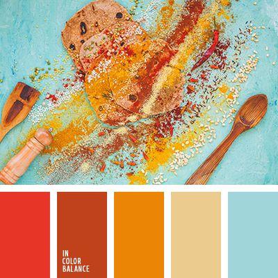 алый, апельсиновый, голубой, красный, небесный, оттенки оранжевого, оттенки теплого цвета, пастельно-желтый, персиковый, светло-желтый, синий, теплый желтый, шафрановый желтый, ярко-желтый.