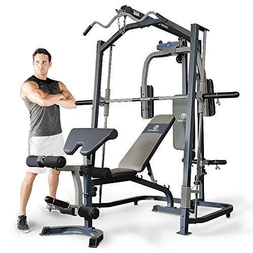 cool Marcy MP3100 Smith Multigym. Incluye banco de pesas. Tabla de ejercicios. Gimnasio en casa. Musculación completa