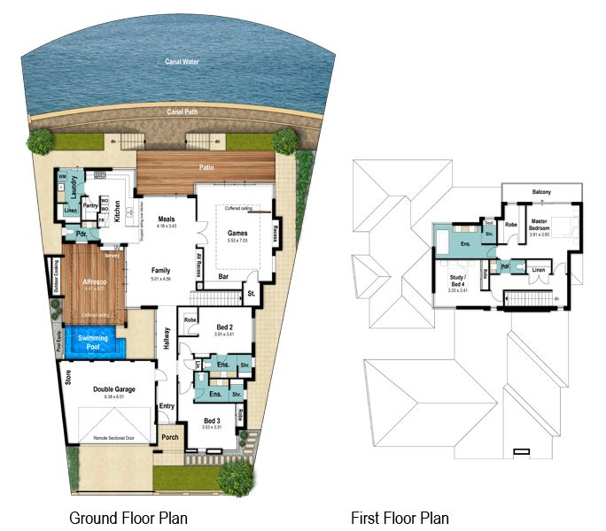 Headland two storey canal floor plans by Boyd Design Perth. Let's design your next home.
