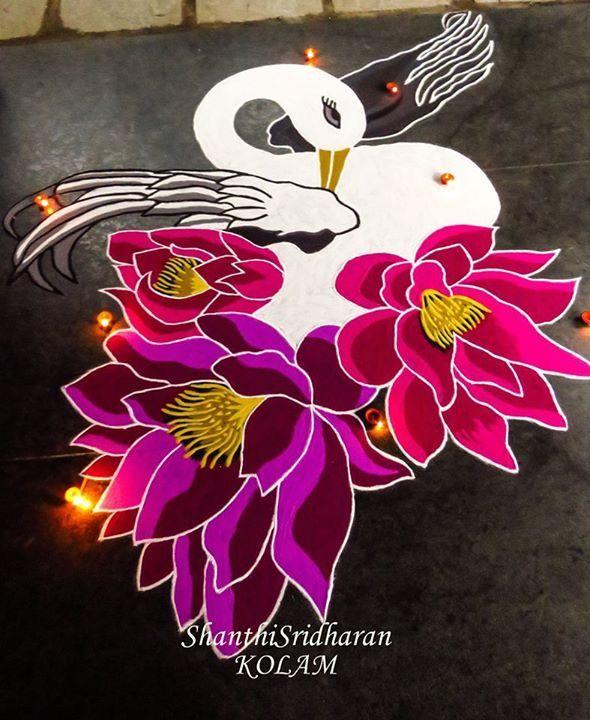 #swan#white#pink#purple#kolam