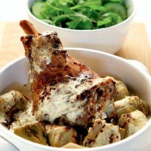 Κατσικάκι με γιαούρτι και αγκινάρες στο φούρνο