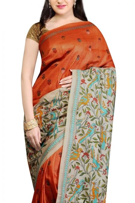 Buy Online Beige Rust Nakshi Kantha Tussar Silk Saree . India's Best Ethnic Wears & Wares www.EthnicKart.com