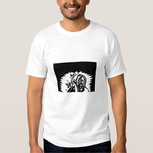 Samoan God Tagaloa Holding a Vine Woodcut T-shirt. Illustration of Samoan legend god Tagaloa holding up a vine viewed from front done in retro woodcut style. #Illustration #SamoanGodTagaloa