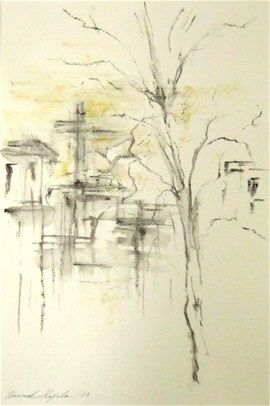 When I am back home; ink and watercolor painting by Hannele Rajala