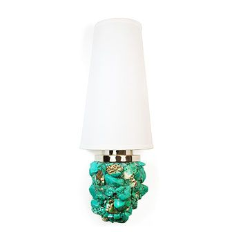 Turquoise wall sconce...could work this into a beach/underwater theme if I decided to do it.