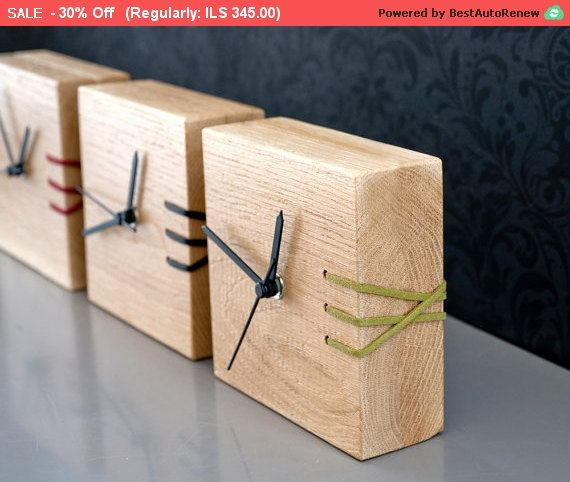 Cyber Monday Green Wooden Clock, Desk Clock, Embroidered Clock, Unique Clock, Wood Clock, Handmade Clock, Modern Clock, Home Decor, Gift ...