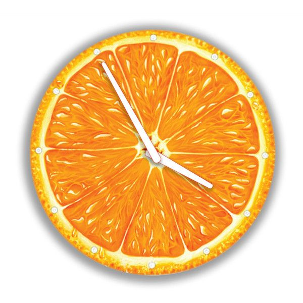 Orange Wall Clock Fruit (290 ZAR) ❤ liked on Polyvore featuring home, home decor, clocks, fruit home decor, orange wall clock, orange home accessories, orange home decor and handmade clocks