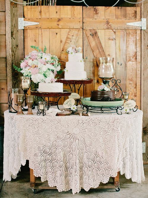 I Love The Way The Table Clothe Is, Beautiful! Rustic Cake Table Ideas I  Like That Everything Is On Wrought Iron Stands Itu0027s Different Good Looking