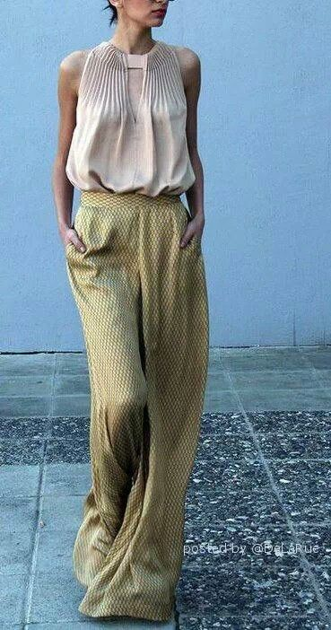 silky trousers and sleeveless blouse