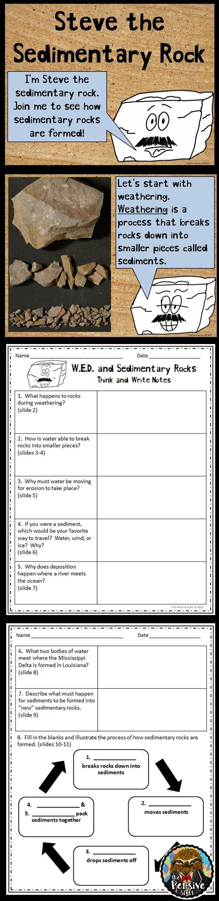Weathering, erosion, deposition, and sedimentary rocks powerpoint and guided notes.  The notes consist of turn and talk and critical thinking questions that encourage students to think and discuss before writing.