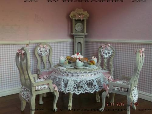 Shabby Chic Dolls House Furniture 1 12 OOAK Cake Tea Shop Clock Table  Chairs   eBay427 best Dollhouse  Dining room images on Pinterest   Dining room  . Shabby Chic Dining Room Table Ebay. Home Design Ideas