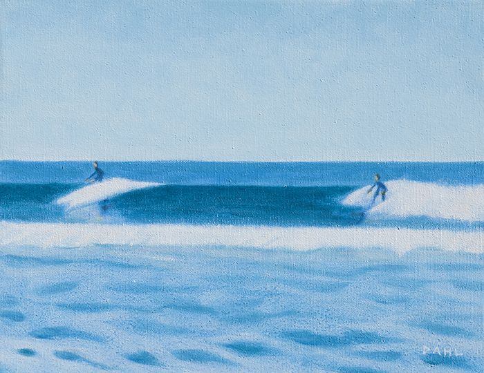 "Surfers, Oceanside California. 11x14"" Oil on canvas © Chris Dahl 2014. $900 (unframed) free shipping worldwide. contact to purchase. http://chrisdahlcreative.com/paintings_page2010.html"