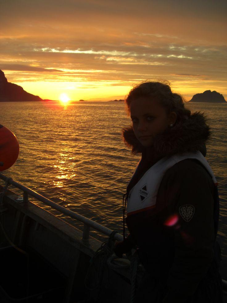 The Sea At Værøy Midnight-Sun