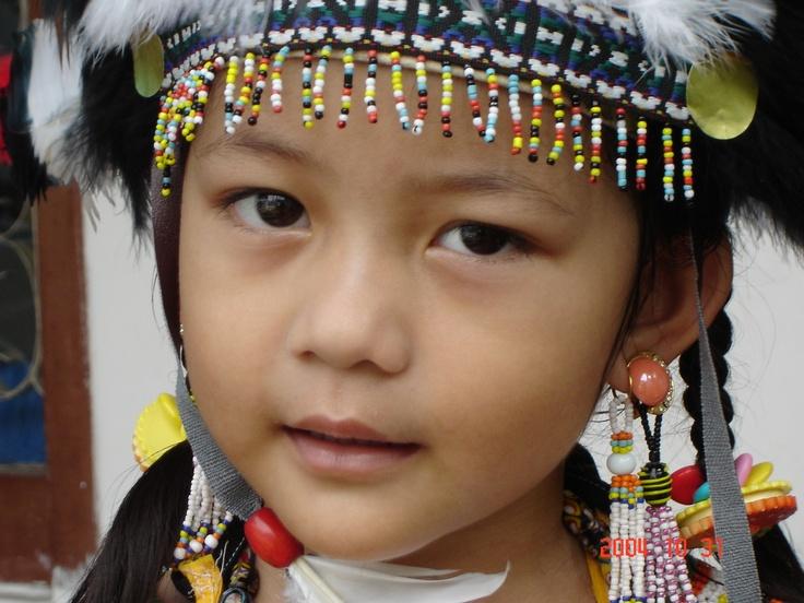 Dayak girl in traditional gear, Kalimantan