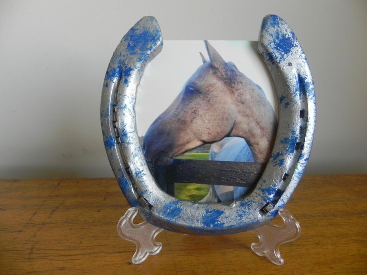 Silver and Blue Horseshoe 4x6 Picture Frame, Cowboy, Cowgirl, Western Decor, Rodeo Decor, Lucky, Kids room Western Nursery decor by APhorseshoes on Etsy