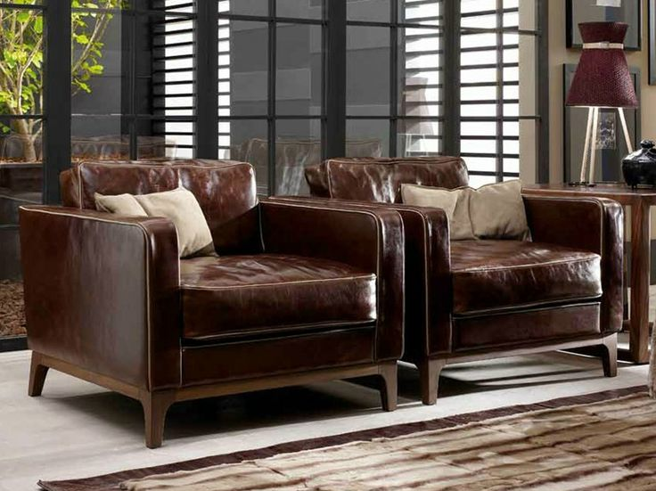 Upholstered tanned leather armchair with armrests GINNY ...