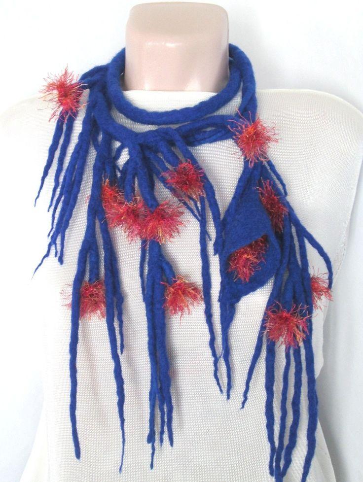 Felted necklace,Fiberart,Wearable art,Felt belt,Exotic plant, Luxurious accessory, Felt  blue lariat,Fancy necklace by AgathaBee on Etsy