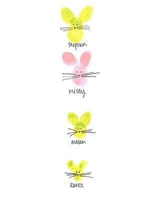 bunny finger prints: Easter Card, Grandma Gift