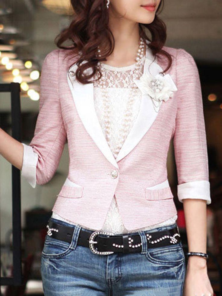 Autumn Spring  Polyester  Fold-Over Collar  Single Button  Plain  Half Sleeve Outerwear Blazers