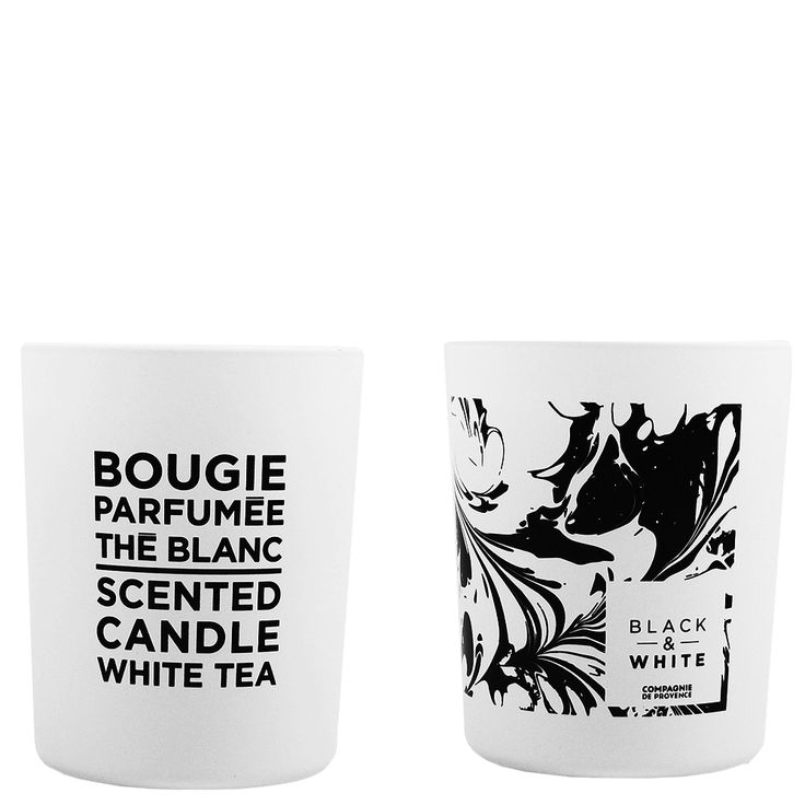 White Tea Scented Candle 180 g: White Tea Scented Candle from the Compagnie De Provence Black and White Collection  Black & White, the must have duo of contemporary design and fragrant harmony, with notes of black tea and blackberry.  This scented candle is a truly decorative object and will bring a touch of contemporary elegance and light to every home.  Its cotton wick and blend of mineral and vegetable waxes allow an optimum diffusion of the fragrance.
