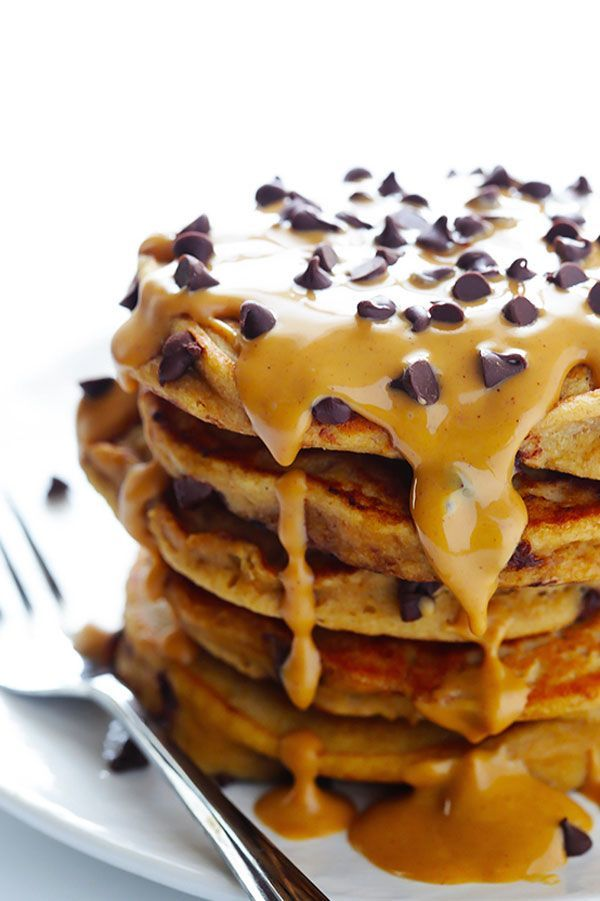 """Whole Wheat Peanut Butter Chocolate Chip Pancakes As Hillary Duff once said, """"Hey now, hey now — this is what dreams are made of."""" #refinery29 http://www.refinery29.com/2016/11/127714/best-peanut-butter-recipes#slide-3"""