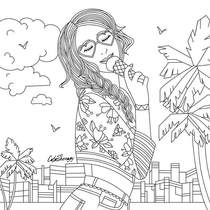 free therapy coloring pages   LadyWithIceCream color with Color Therapy: # ...