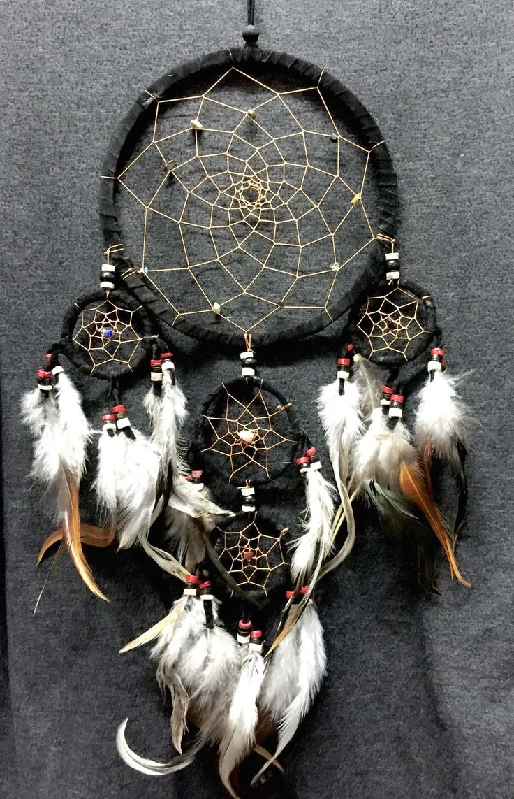 """Dream Catcher Black Wall Hanging Decoration Ornament Bead Feather Suede Long 22""""…"""