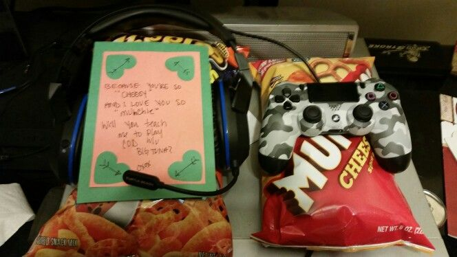 Boyfriend valentine's gift day 6.  Because your so cheesy and I love you so munchies will you teach me to play COD w/u Big Tuna?  Gamer and The Of…