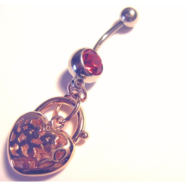 Navel Belly Ring Piercing Pink Gold Tone Heart Faux Lock Silver Tone... ($18) ❤ liked on Polyvore featuring jewelry, piercings, belly ring, bellybutton, rose gold tone jewelry, imitation jewelry, artificial jewellery, fake jewelry and imitation jewellery