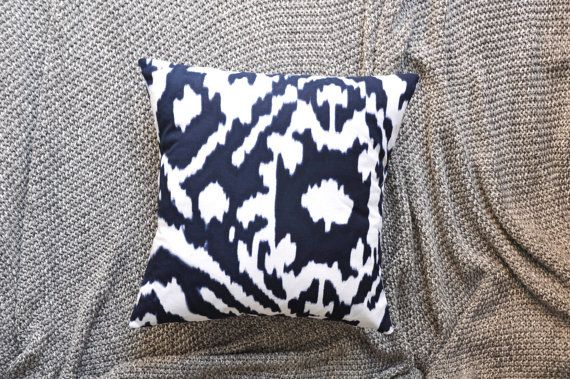 Dark Blue & White Ikat Print Envelope Cushion by trimandthread