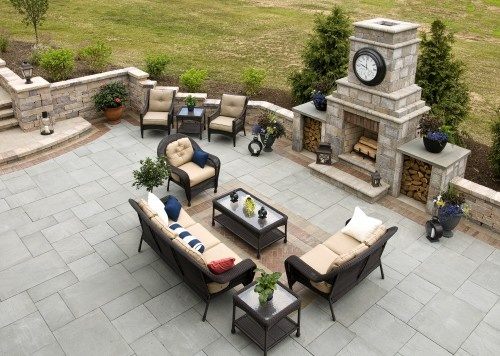 awesome patio off back door- beautiful built-in fireplace