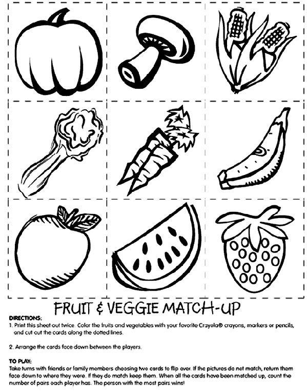 print two copies of the fruit veggie match page 2 use kids nutritionkids coloring - Nutrition Coloring Pages Kids