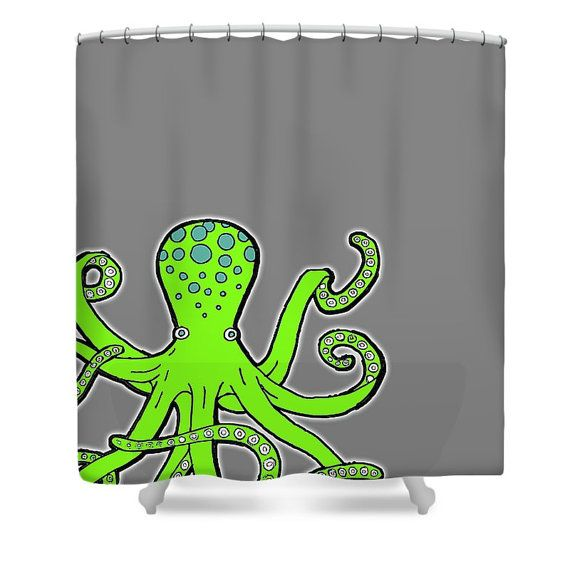 Octopus Shower Curtain  Green Red And Blue Octopus Shower