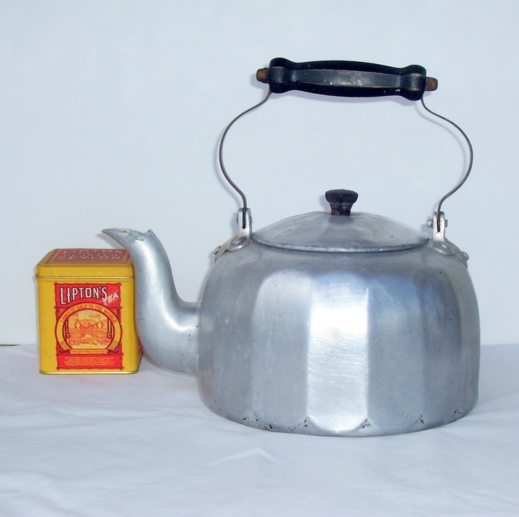 retro tea kettle mirro aluminum tea kettle vintage tea pot primitive 1949