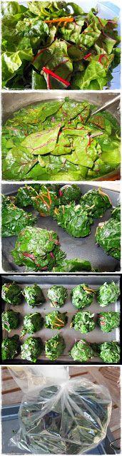 Vorratshaltung: Mangold/Spinat portionsweise einfrieren - Zwutschgerln selbst gemacht