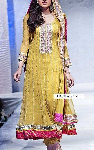 Yellow Crinkle Chiffon Suit | Buy Pakistani Dresses Online in USA | www.786shop.com